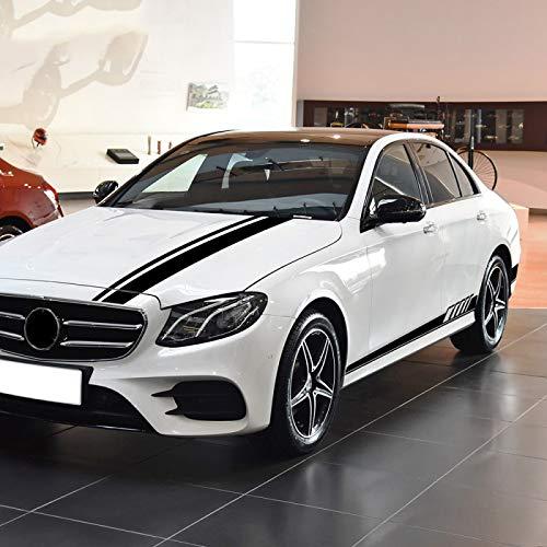 vitesurz Auto Pegatinas de Calcomanías Body Stripe Lateral, para Mercedes Benz Clase E W212 W213 E200 E250 E300 E63 AMG, Pegatina para capó de Coche, Falda Lateral Trasera de Rayas para Coche