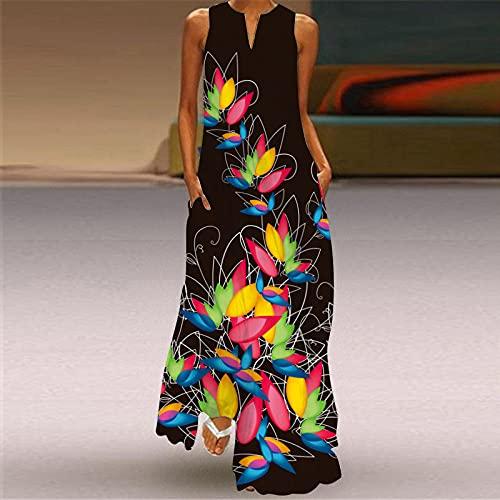 Vestido De Playa Para Mujer,Vestido De Mujer Pétalos De Colores Estampado 3D Escote En V Negro Sin Mangas Maxi Vestido De Bolsillo Falda De Swing De Gran Tamaño Informal Fiesta De Primavera Y Oto