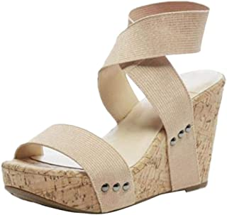 Women's Wedges Sandals Summer High Platform Elastic Band Open Toe Slingback Ankle Strap Shoes