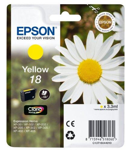 Epson Orginal 18 Tinte Gänseblümchen, XP-305 XP-402 XP-215 XP-312 XP-315 XP-412 XP-415 XP-225 XP-322 XP-325 XP-422 XP-425, Normalverpackung, Standard, (gelb)