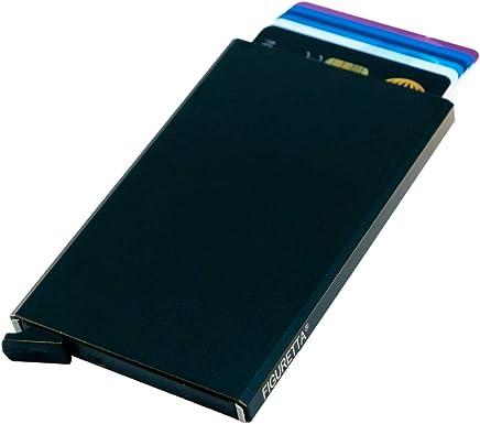 Figuretta KREDITKARTENCASE aus Aluminium - RFID SCHUTZ f�r Ihre EC- Kredit-, Club-, Kundenkarten, Schutzh�lle, Kartenetui als perfekter Schutz f�r Ihre Kreditkarten- Farbe Schwarz