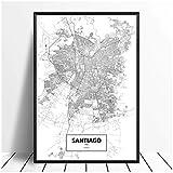 Póster de mapa en blanco y negro de Santiago de Chile, impresión en lienzo, arte de pared, decoración del hogar, pintura en lienzo, decoración, póster e impresiones de regalo-50x70cm sin marco
