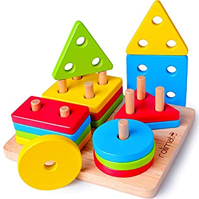Rolimate Educational Toy Toddler Toy for 2 3 4+ Years Old Boy Girl Wooden Puzzle Shape Sorter Preschool Learning Toy Sensory Toy Montessori Developmental Sorting Stacking Toy for Toddlers Babies Kids from rolimate