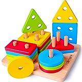 Rolimate Juguetes para Niños Pequeños Apilador Geométrico De Madera, Stack & Sort Board Tablero...