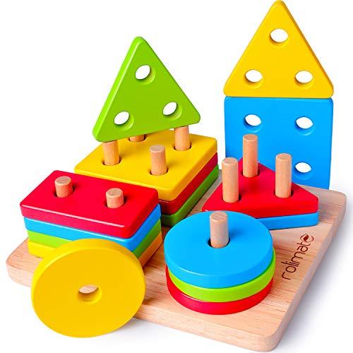 rolimate Giocattolo di Legno, Montessori Giocattoli Forme Geometriche Impilatore Giochi per attività Motorie, Blocchi Costruzioni Puzzle di Legno, Regalo di Natale di Compleanno per 2/3/4/5 Anni