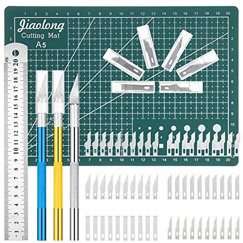Auidy_6TXD Cutter di Precisione Set, 65 Pezzi Cutter da Taglio Coltello da Intaglio Artistici con 3 Manici with Bag,60 Lame,1 Tappetino da Taglio e 1 Acciaio Righello