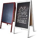 Panneau Publicitaire Extérieur - Tableau Noir   Stop Trottoir Tableau Ardoise   Cadre en Bois   Chevalet Double Face & Pliable   Blanc - 81x51x4.5 cm