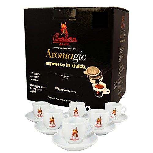 100 Aromagic Pads + espressokopjes - Caffè Barbera
