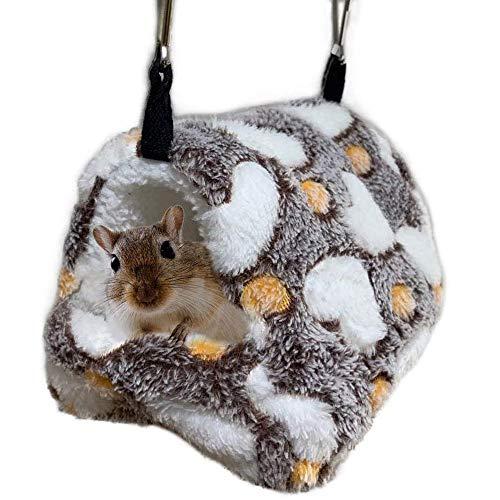 ELEpure Hamster Hängematte für Käfig, hängendes Bett aus Plüsch für Kleintiere, Meerschweinchen, Versteck für Eichhörnchen, Igel, Rennmäuse, Winter, warm, weich, süßer Schlaf, Haus (22 x 21 cm)