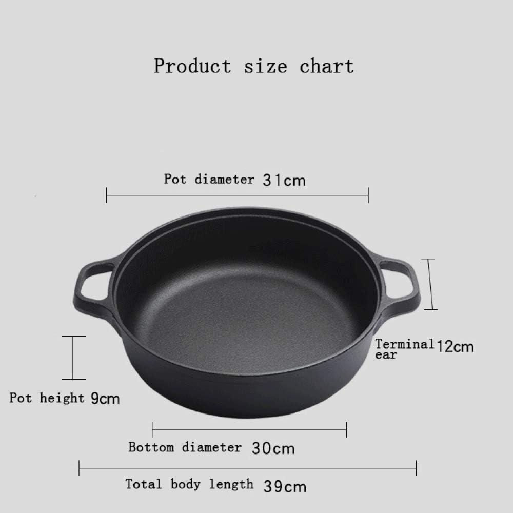Art Jian Fonte Pan, épais Double Oreille Décoction Pan Accueil Pancake Pot en Fonte Ragoût Pan sans revêtement Anti-adhésif Fry Wok Sauté casseroles Batterie de Cuisine 31cm