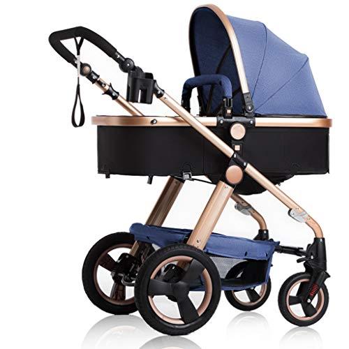Carritos y sillas de Paseo Alto Paisaje 3 en 1 cochecitos Cochecito para niños Cochecito para bebé Seguro y Cuidado Rueda Plegable Sistema de Viaje Ajustable Basculador Bebé Sillas de Pas