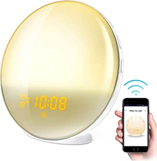 Smart WiFi Sleep and Wake Up Light Alarm Clock,Sunrise Alarm Clock with FM Radio, Dimmable Night Light by APP - Work with Android Phone, iPhone, iPad, and Tablet