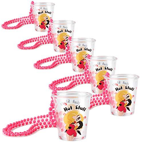 "COM-FOUR® vasos de chupito 6x con cadena para sujetar - Accesorios para despedidas de soltero - Shotglas para Carnaval, Carnaval, JGA, etc. - 50 ml (6 piezas -""Hot Stuff"")"