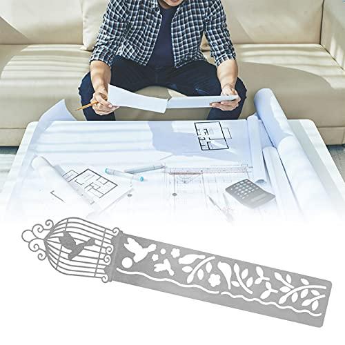 Regla de metal, plantillas de pintura de acero inoxidable de 14,8 cm / 5,8 pulgadas reutilizables para pintar cuentas de mano, periódico de copia a mano