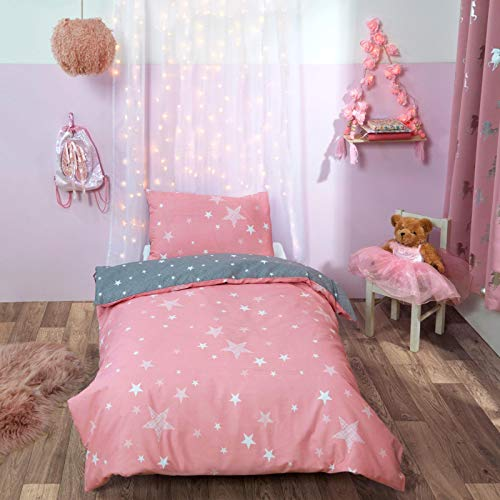 Dreamscene Galaxy Stars Duvet Cover with Pillowcase Kids Toddler Reversible Bedding Set, Blush Pink Grey, Junior/Cot