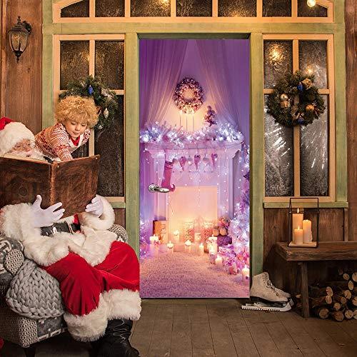JIANXIQT deurstickers voor binnendeuren, citaat muursticker creatief roze open haard 3D badkamer deur sticker Vinyl Pvc Scandinavische kerst kunst stickers voor woonkamer slaapkamer schuifdeuren muurschildering 90x200cm