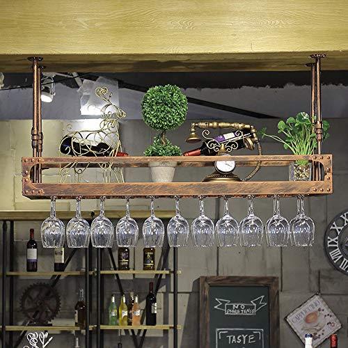 WY&WY Estante De Vino Montado En El Techo Estante De Copa De Vino Colgante Soporte De Botella De Vino De Metal Ajustable, Invertida Estante Botella Licor para Bar, Hogar, Fiesta,Bronce