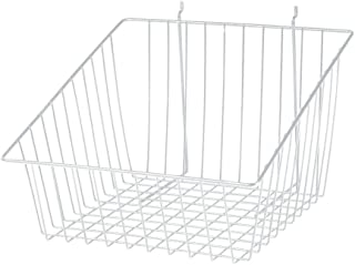 White Mini Wire Grid Basket for Slatwall or Pegboard with 4 inch Slanted Front Lip - 12''L x 12''W x 8