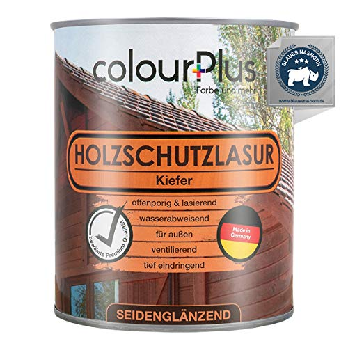colourPlus® Holzschutzlasur (750ml, Kiefer) seidenglänzende Holzlasur Außen- Holz Grundierung - Holz Lasur - Holzlasur Aussen - Made in Germany