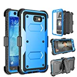 Tinysaturn Galaxy J7 2017 Case, J7 Perx Case, J7 Sky Pro Case, [Yvenus]Shockproof Holster Built-in Screen Protector Belt Clip Kickstand Rugged Phone Case for Samsung Galaxy J7 2017/J7 Prime/J7 V-Blue