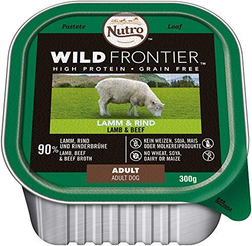 NUTRO Hundefutter Nassfutter Wild Frontier Adult 1+ Lamm & Rind, 10 Schalen (10 x 300g)