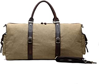 Duffel Bag Men Large Fancy Luxury Vintage Travel Canvas and Leather Duffle Bag (Color : Brown, Size : S)