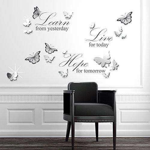 Walplus Miroir 3D Papillons 50 x 70 cm Stickers muraux amovibles Autocollant Mural Art Decal Vinyle Décoration Maison Salon Chambre Bureau Décor Papier Peint Enfant Cadeau