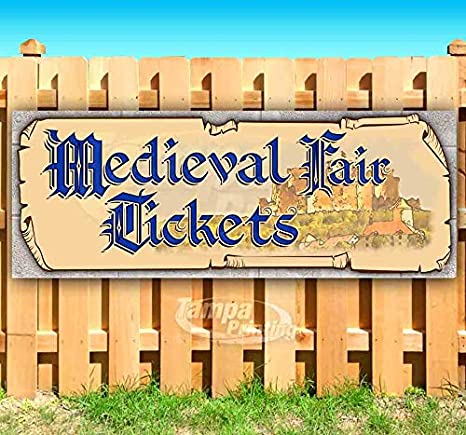Medieval Fair Tickets Castle Blue Text 13 oz Banner Heavy-Duty Vinyl Single-Sided with Metal Grommets
