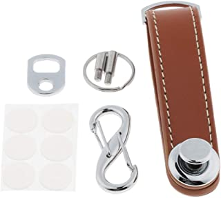 Prettyia Mens Genuine Leather Smart Key Holder Organizer Clip Compact Folder Keychain