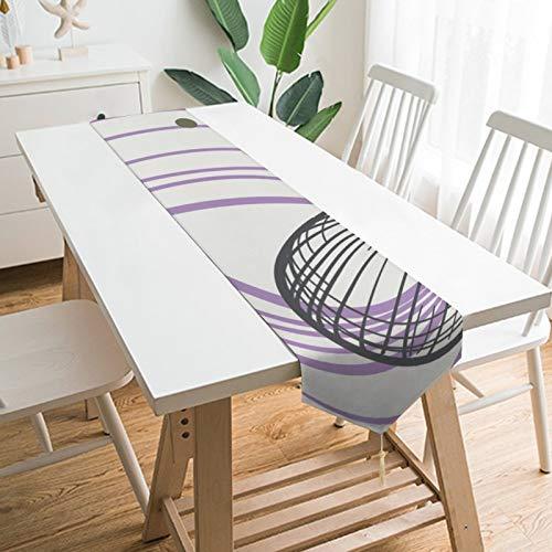None-brands Camino de mesa decorativo de círculo morado con ondas abstractas de 33 x 180 cm, para cocina, comedor, fiesta, reuniones familiares, caminos de mesa de vacaciones, decoración