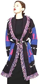 Women Knit Jacquard Sweater Coat Medium Blue Black Western Print