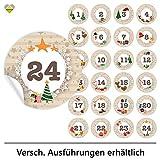 24 Adventskalender-Zahlen (Aufkleber Etiketten Sticker) | Romantic Snow Dekor | Schrift: Butterkeks...