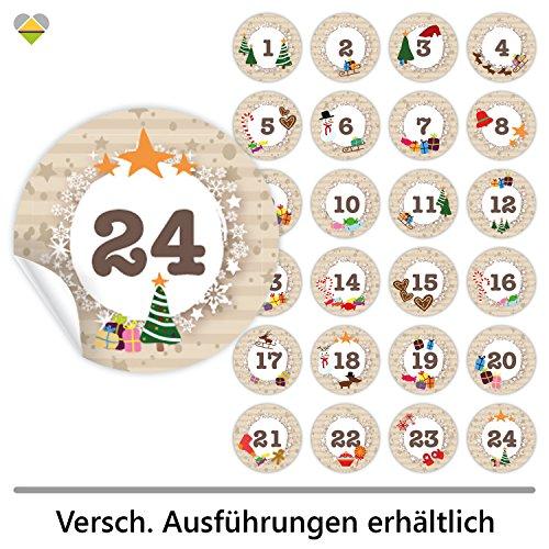24 Adventskalender-Zahlen (Aufkleber Etiketten Sticker) | Romantic Snow Dekor | Schrift: Butterkeks | Rund | M » Ø 40 mm | Creme-Beige | F00013-01