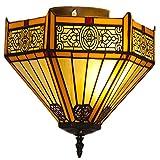 Lámpara de Techo 2 Luces Vintage Flush Monte Luz del Techo con Las Luces Colgantes Creativas de la Sombra de vidrieras para el Pasillo, la Isla de la Cocina, la Entrada