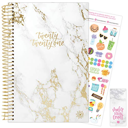 """bloom daily planners 2021 Calendar Year Day Planner (January 2021 - December 2021) - 6"""" x 8.25"""" - Weekly/Monthly Agenda Organizer Book with Stickers & Bookmark - Marble"""