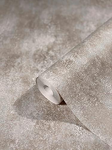 Tapete bronze Betonoptik HAILEY für Wohnzimmer, Schlafzimmer oder Küche Made in Germany 10,05m x 0,53m Premium Vliestapete 82250