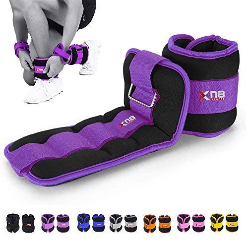 XN8 Gewichtsmanschetten Verstellbares Neopren Fußgelenkgewichte|0.5kg-3kg Armgewichte Handgelenkgewichte für Fitness, Bewegung, Laufen, Joggen, Gymnastik 1kg