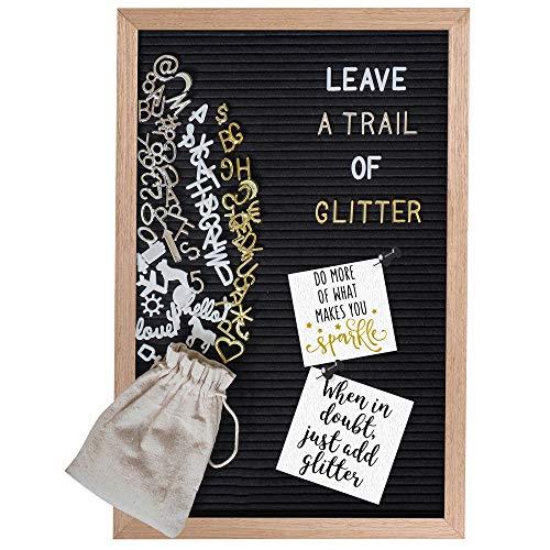 Gadgy ® Retro Filz Letter Board | Mit 710 golden, Silber & weiße Buchstaben und Beutel | 30x45 cm.