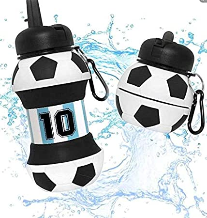 Botella Agua Silicona Diseño Fútbol Argentina - Plegable - Niños, Niñas y Adultos - Muy resistente - 550ml (Argentina)