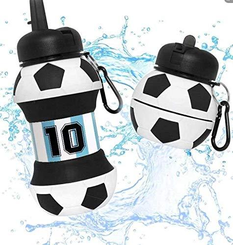 Botella Agua Silicona Diseño Fútbol 10 Argentina - Plegable - Niños, Niñas y Adultos - Muy resistente - Agua limpia y pura - 550ml