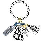 Doormoon Keychain Bracelet Wristlet Bangle Key Holder Round Keyring Leather Tassel Key Ring Chain (Black White Leopard)