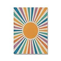 抽象風景太陽シーンポスター自由奔放に生きるキャンバスプリント絵画インテリア保育園壁アートパネル写真色ポスターリビング部屋寝室装飾30x40cmいいえフレーム