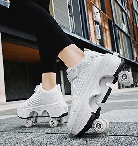 XRDSHY Patinar Zapatos Scooter Patines para Adultos Blanco Caminata De Deformación Zapatos Zapatos para Correr Al Aire Libre con Rueda,White-33