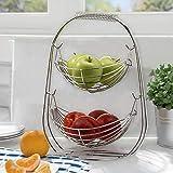 Warmiehomy Cesta de Frutas, Frutero de 2 Pisos de Metal, Cesta para Verduras y Frutas, Fruteros de Cocina para Mostrador, Organizador Cocina - Plata
