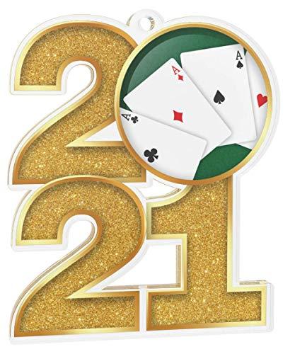 Trophy Monster El paquete de medallas de poker de 2021 incluye 5 medallas y cintas, clubes, fiestas y empresa, hecho de acrílico impreso, 70 mm (8 tamaños)