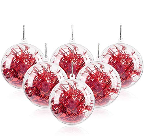 20 Bolas de Navidad Transparente Rellenables de 10 cm.