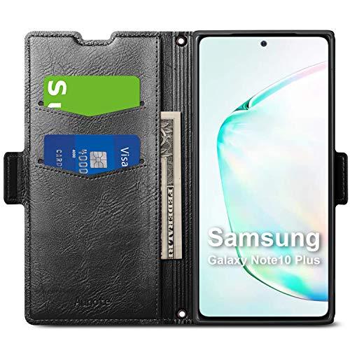 Funda Samsung Galaxy Note 10 Plus,Samsung Note10 Plus Funda,Carcasa Note10 Plus con Cierre Magnético, Tarjetero y Suporte, Cubierta Plegable Cartera, Flip Folio Cover Case, Étui Piel Protección.Negro