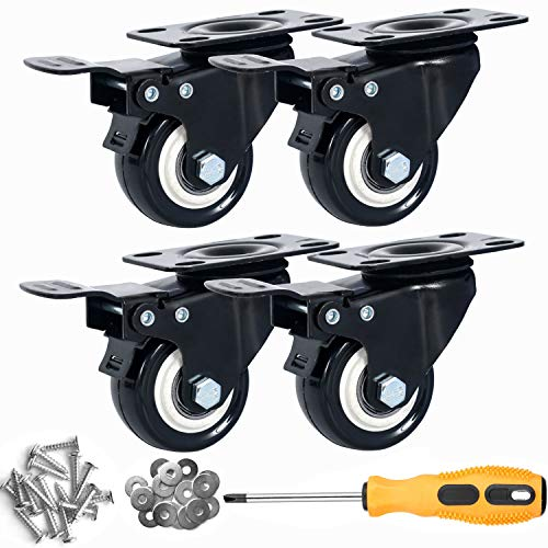 Copsrew 4' PVC Heavy Duty 1200lbs Swivel Rubber Caster Wheels with Safety Dual Locking Casters Set of 4 with Brake