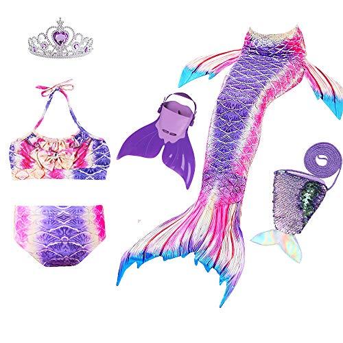 JoyChic Meerjungfrau Flosse zum Schwimmen Meerjungfrauen Bikini Set Badeanzüge Badenbkleidung Kostüm Meerjungfrauenflosse für Mädchen, Style 6, 110-120