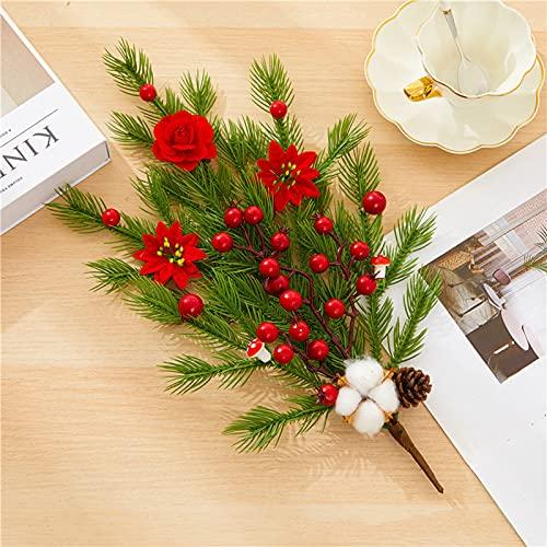 YQYAZL, 4 plettri artificiali in pino rosso, decorazione di fiori di pino, ramoscelli di alberi di Natale, albero di Natale di Poinsettia bouquet di cotone, ornamenti per ghirlande